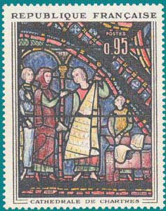 1963-SC 1077-Window of the cathedral of Chartres, 'The Fur Merchants'
