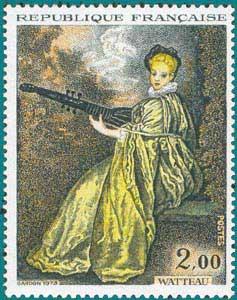 1973-Sc 1362-J. A. Watteau (1684-1721), Lady playing archlutte 'La Finette'